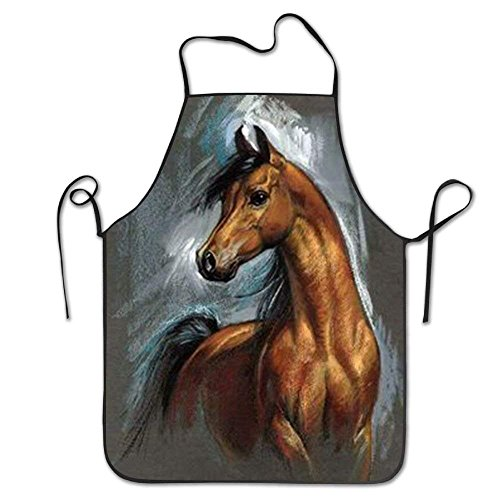 Horse Apron (GAMSJM Personalized Kitchen Aprons Horse Animal Waist Customized Home Kitchen Professional Chef Cook Barbecue BBQ Bib Apron Dress for Womens Mens Wife Ladies)
