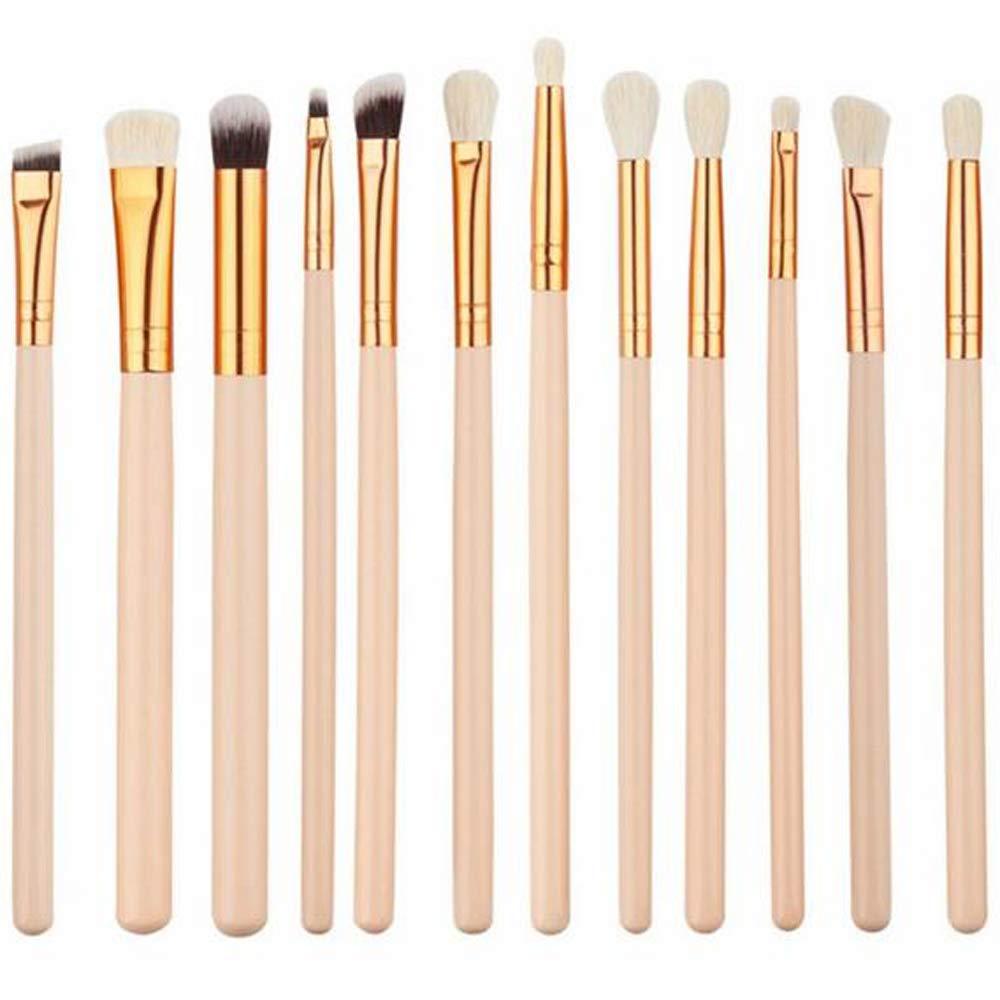 Jam Lee Makeup Brushes Set 12pcs Wood Handle Soft Nylon Bristles Kabuki Makeup Brush Cosmetic Brushes Eyeshadow Eyeliner Blush Brushes(white)