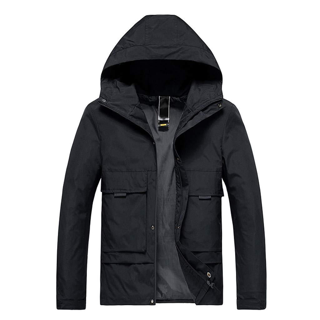 Pervobs Men's Autumn Winter Casual Softshell Jacket Loose Solid Hoodie Zipper Up Outdoor Sport Coat Outwear(4XL, Black A) by Pervobs Men Coat&Jacket