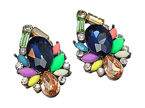 Multi Color Gems Ring (PYRAMID, Women's Elegant Large Colorful Crystal Gemstone Stud Earrings, Multicolour)