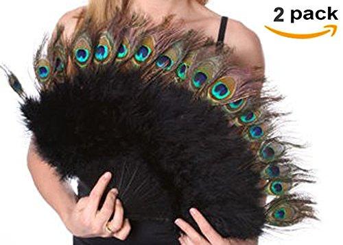 (Set of 2) Vintage Large 20'' Peacock & Black Marabou Feather Fan ~ Flapper Accessories Elegant~Halloween Costume Party D13476 (2oz) We Pay Your Sales (Marabou Flapper Fan)