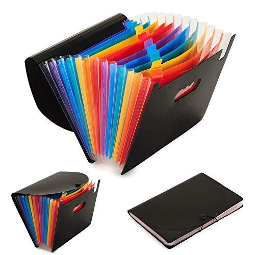 12 Pocket Multicolor Plastic Large Capacity Stand Business File Box Case Expanding File Organizer A4 Document Folder with Cover