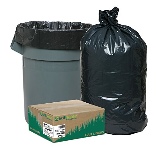 Earthsense Commercial RNW5820 Can Liner, 55-60 gal, 2.0 mil, 38'' x 58'', Black (Pack of 100) by Earthsense Commercial
