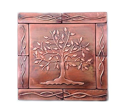Tree of life wall tiles, SET OF 9 copper tiles as a backsplash