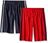 The Children's Place Big Boys' Active Shorts (Pack of 2) , Tidal/ruby, M (7/8)