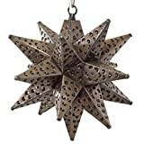 Moravian Star Light, Flower Pierced Tin, Bronze, 12''