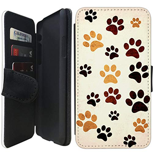 Prints Wallet Paw (Flip Wallet Case Compatible with iPhone XR (Paw Print Design) with Adjustable Stand and 3 Card Holders | Shock Protection | Lightweight | Includes Free Stylus Pen by Innosub)