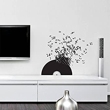 Wall Decal Vinyl Sticker Decals Art Decor Design Record Music Songs Sound Notes Melody Live