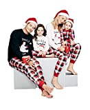Baonmy Christmas Family Matching Pajamas Red Plaid Sleepwear Set (Women, XL)
