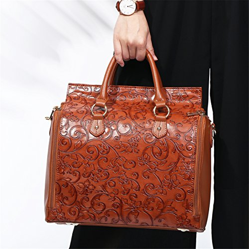 Capacity Large Leather Handbags Travel Makeup Bag Vintage Brenice Black Embossed Bag Shoulder Red Flower Bohemian xqCZawnq8