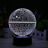 Star Wars Death Star 3D LED Lamp - Holographic Lamp, 2 Light Modes