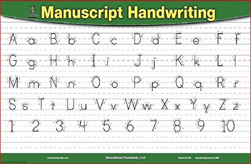 brainymats - Educational Kids Placemat - Double Sided -Writeable -Washable -Made in the USA (Handwriting)