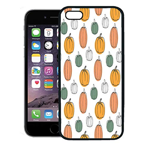 Semtomn Phone Case for iPhone 8 Plus case,Green Pattern Pumpkins Colorful Halloween Orange Thanksgiving Cooking Cute iPhone 7 Plus case -