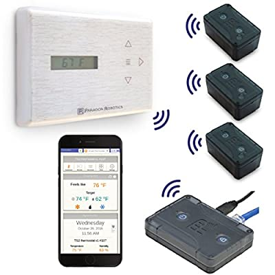 Paragon Robotics Model COM004 Wireless Smart Efficiency Thermostat System w/ Qty 3 Remote Temperature and Humidity Sensors