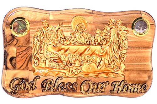 - OLive wood Last Supper Plaque Hand Made in Bethlehem Holy Land with Alabaster/Ceramic clay (8.4 Inches)
