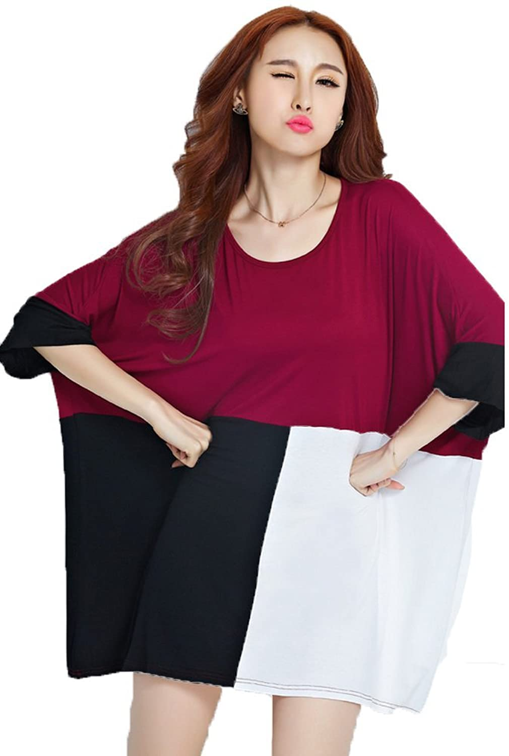 M-Bedy Women Large Size Checkered Fashion Color Block T Shirt and Tops Dress