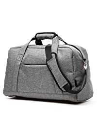 KEYNEW 18'' Canvas Carry On Tote Bag Getaway Overnight Weekend Zipper Bag with Strap for Men Women