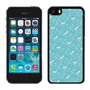 Beautiful Unique Designed iPhone 5C Phone Case With Ocean Theme Blue Pattern_Black Phone Case