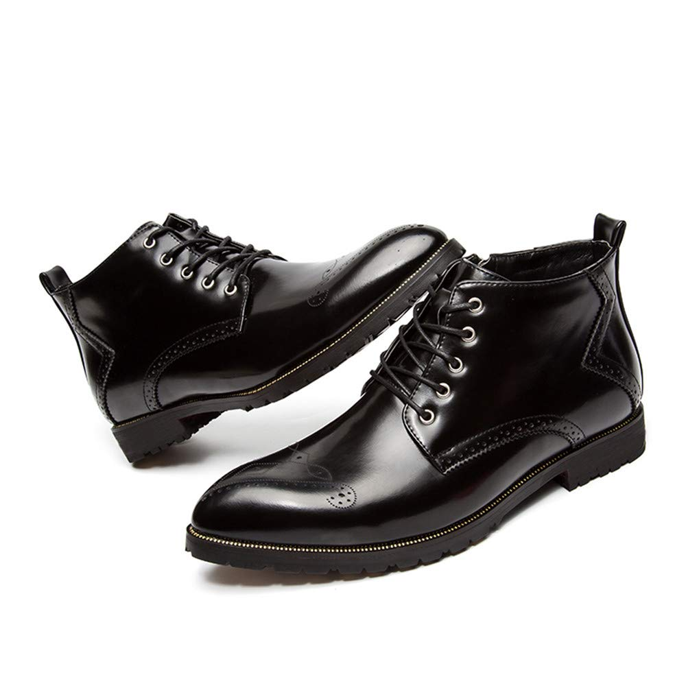 Color : Black, Size : 9 M US MUMUWU Mens ankle boots casual Classic retro brush color with zipper top high side carved Brogue Shoes Winter