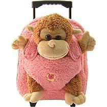 Pink Monkey Plush Roller Backpack