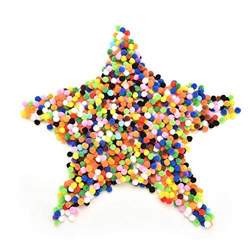 Belegend 2000Pcs / Pack 10mm Crafts Round Shaped Pompom Mixed Color Soft Fluffy Pom Poms for Kids Children