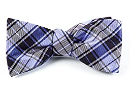 100% Woven Silk Eggplant and Lavender Summer Plaid Self-Tie Bow Tie