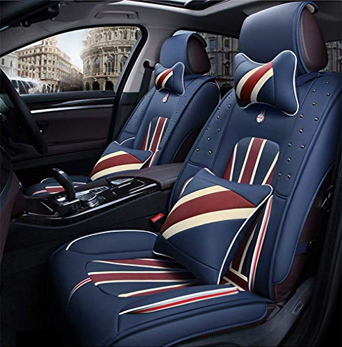 ZHAS Four Seasons Leather Seats, Deluxe Summer Waterproof Seat Cover for Most Five-Seater, with Lumbar Cushion for Headrest, B: