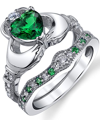 Sterling Silver 925 Heart Shape Claddagh Engagement Ring Wedding Bridal Sets with Green Simulated Emerald Cubic Zirconia ()