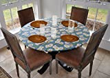 Elastic Edged Flannel Backed Vinyl Fitted Table Cover - Daisy Pattern - Small Round - Fits Tables up to 44'' Diameter