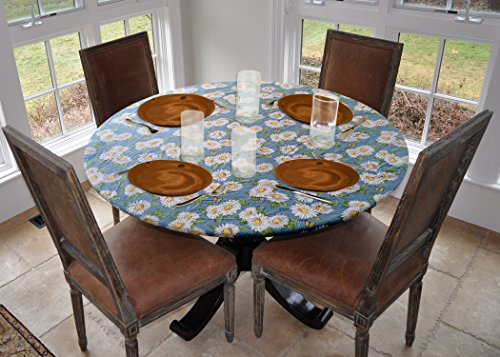 Elastic Edged Flannel Backed Vinyl Fitted Table Cover - DAISY Pattern - Small Round - Fits tables up to 44