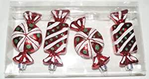 Set of 4 Glass Ornaments - Candy Shaped - Red, White, Green