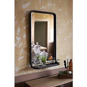 Amazon.com: Kalalou Raw Metal Framed Mirror with Shelf