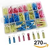Sopoby 270 PCS Heat Shrink Wire Connector Kit Waterproof Electrical Insulated Crimp Marine Automotive Spade Ring Terminals Set with Case
