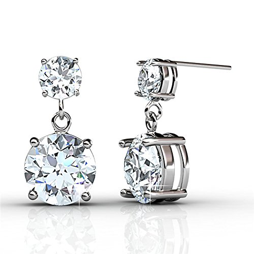 Cate & Chloe Jasmine 18k White Gold Earrings with Swarovski Crystals, Silver Dangling Sparkle Stud Earrings w/ Solitaire Round Cut Diamond Crystals Earring Studs Set for Women, Wedding Anniversary