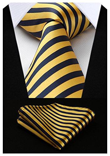 HISDERN Extra Long Stripe Tie Handkerchief Men's Necktie & Pocket Square Set (Yellow & Navy ()