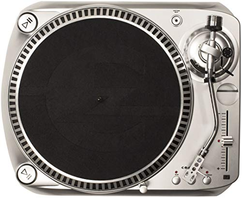 (Crosley DJ100 Direct Drive DJ Turntable with Built-in Preamp and RCA/USB Outputs, Silver)