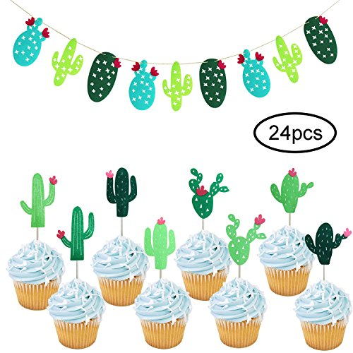 rs | Cactus Banner Garland | Cactus Party Decorations | Cactus Theme Party Supplies | Fiesta West Cacti Theme Birthday Party Supplies ()