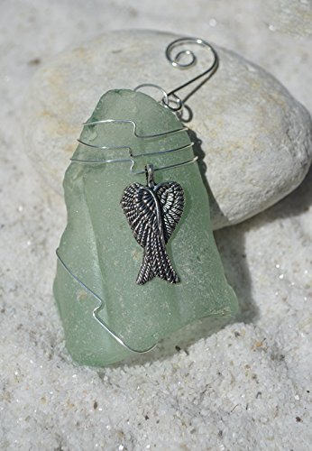 Custom Surf Tumbled Sea Glass Ornament with a Silver Angelic Wings Charm - Choose Your Color Sea Glass Frosted, Green, and Brown. ()