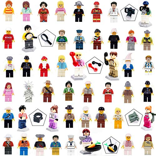 Minifigures Set of 48 Building Bricks Community People with 10 Compatible Interchangeable Accessories, Mini Figures Interlocking Toy Playset Building Party Toys Gift by Nanny's Toy
