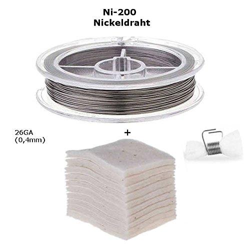 Nickel 200 26GA, RBA Selbstwickel Verdampfer Zubehör Draht Set, Japanese Bio Baumwolle + Selbstwickeldraht (Ni-200 26GA)