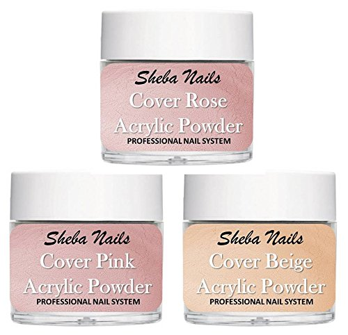 SHEBA NAILS Cover Concealer Acrylic Powder Variety Kit - Cover Pink, Cover Rose, and Cover Beige 1/4oz.
