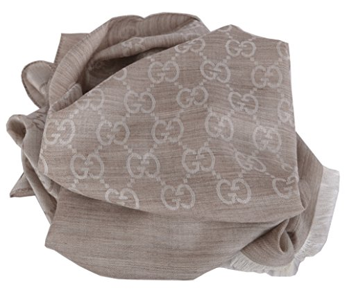 Gucci Women's Oatmeal Beige Wool Silk GG Guccissima Scarf by Gucci