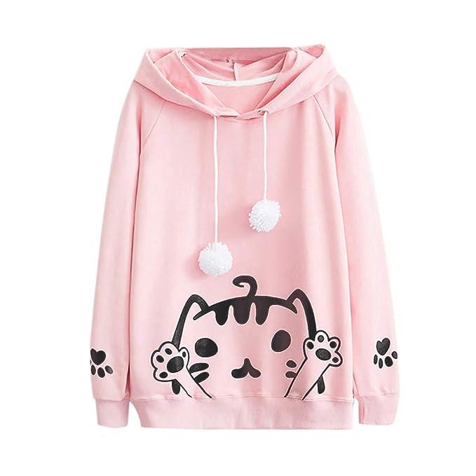 Sudaderas Mujer,Mujer Casual otoño Manga Larga con Capucha Cat impresión Bola Sudadera Blusa Tops