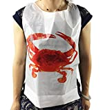 Black Cat Avenue Adult Tie Back Disposable Crab Plastic Bibs, 50 Count