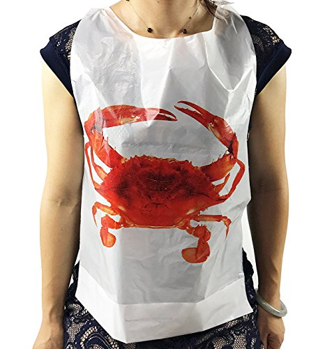 (Black Cat Avenue Adult Tie Back Disposable Crab Plastic Bibs, 50 Count)