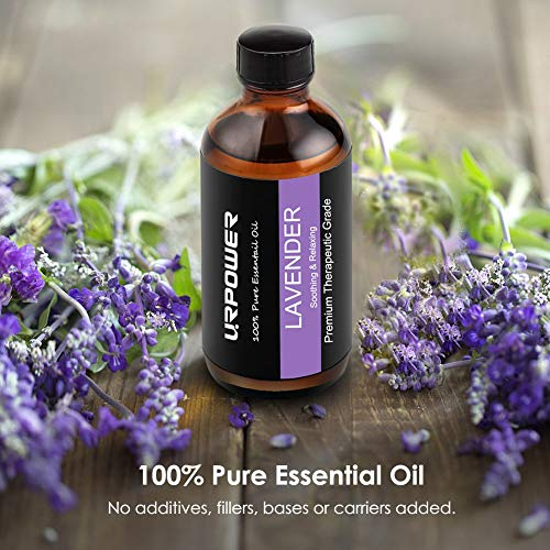 URPOWER Lavender Essential Oil, 100% Pure Lavender Oil, Natural Essential Oils Perfect for Aromatherapy, Relaxation, DIY, Improved Mood-4 Ounce/120 Milliliters