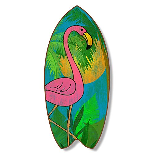 Highland Graphics Pink Flamingo 18 Inch Wood Distressed Surfboard Shaped Sign Plaque Wall Decor