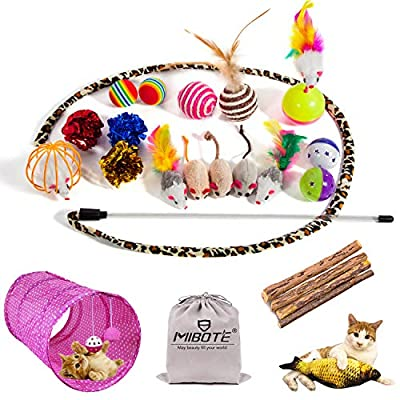 24 Cat Toys Kitten Catnip Toys Assorted, 2 Way Tunnel, Fish, Interactive Feather Teaser, Fluffy Mouse, Tumble Cage Mice, Crinkle Rainbow Balls Bells Toys
