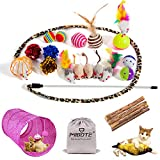 MIBOTE 24Pcs Cat Toys Kitten Catnip Toys Assorted, 2 Way Tunnel, Fish, Interactive Feather Teaser, Fluffy Mouse, Tumble...