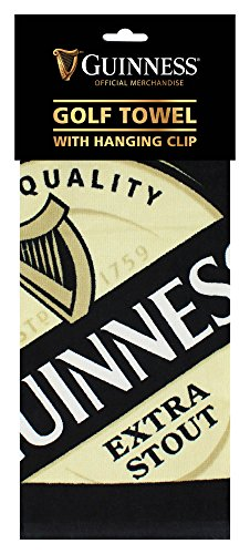 Guinness Label Cotton Black Golf Towel with Karabiner Clip